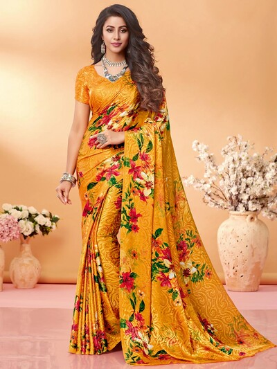 Lavish yellow printed crepe jacquard saree for festive wear