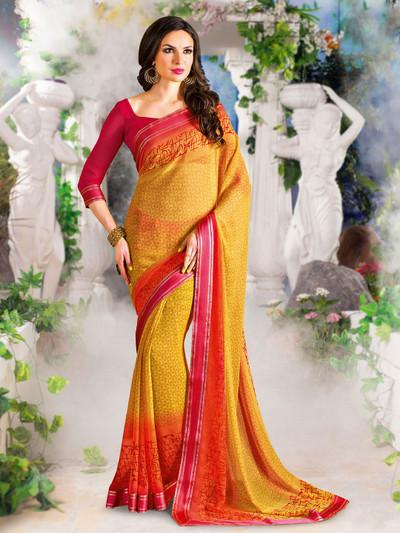 Lavish yellow printed georgette saree for festive wear