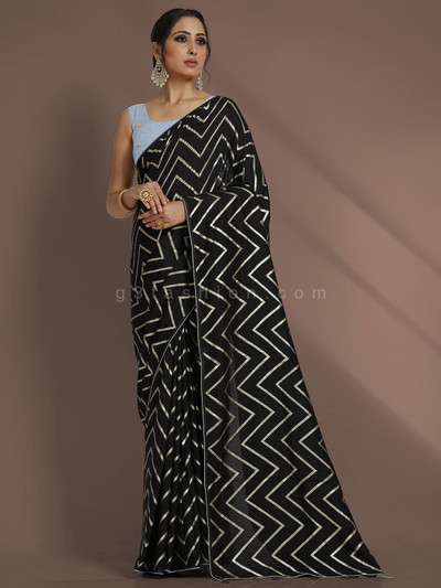 Leheriya black dola silk party function saree