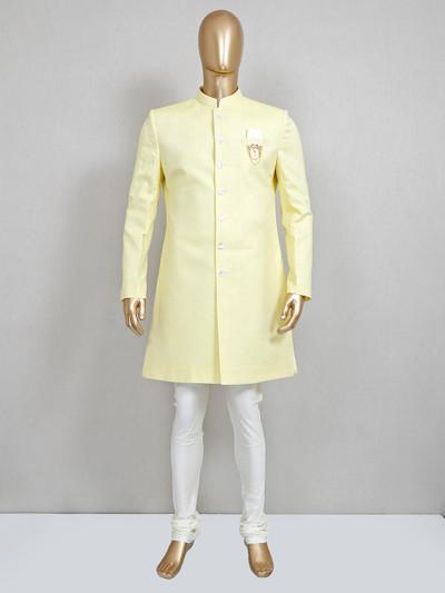 Lemon yellow cootton silk wedding wear sherwani