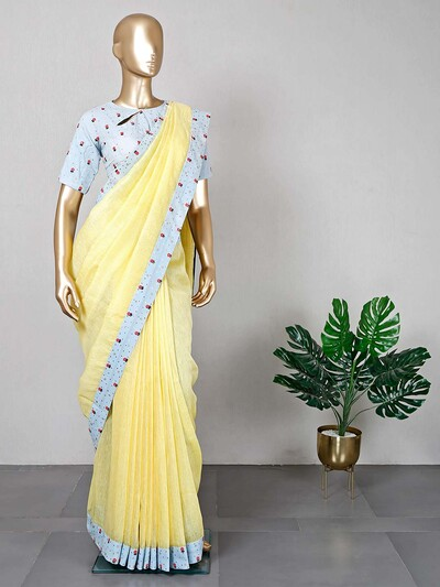 Lemon yellow festive wear saree with ready made blouse