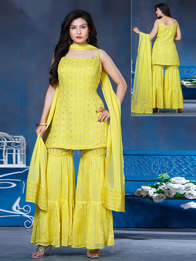 Lemon yellow georgette wedding functions sharara suit