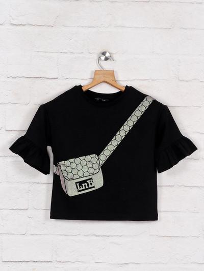 Leo N Babes black printed half sleeve cotton top
