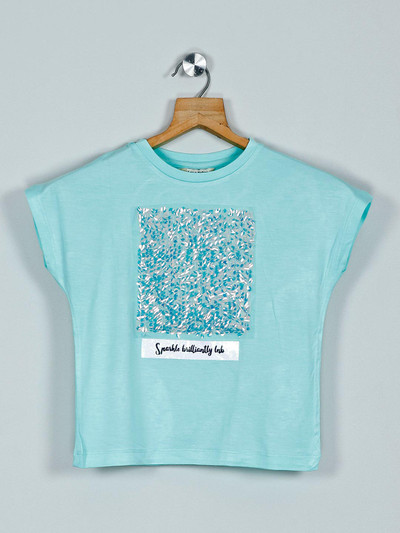 Leo N Babes casual printed cotton top in sea green