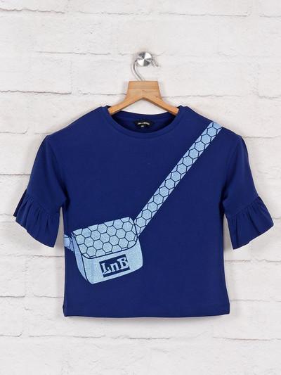 Leo N Babes royal blue printed cotton top
