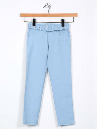 Leo N Babes solid blue jeggings for girls