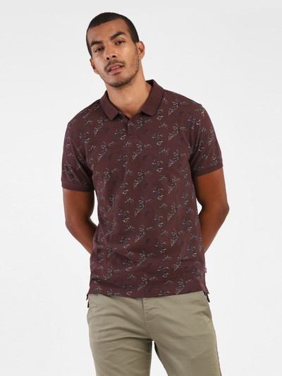Levis cotton brown printed polo t-shirt