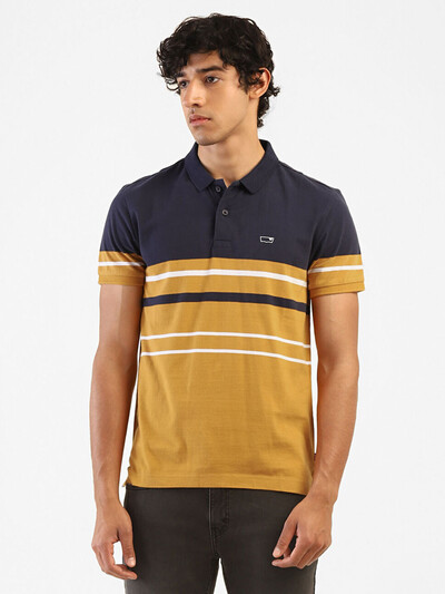 Levis mustard yellow stripe casual wear polo t-shirt
