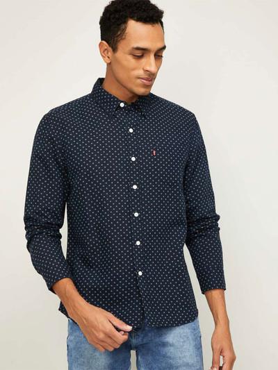 Levis navy printed casual mens shirt
