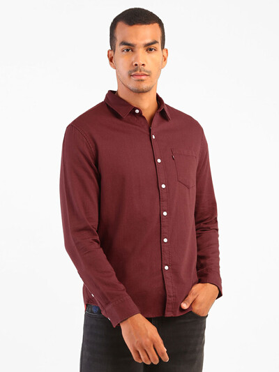 Levis solid maroon cotton casual shirt for mens