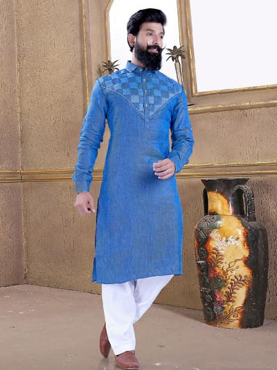 Light blue color cotton silk pathani suit