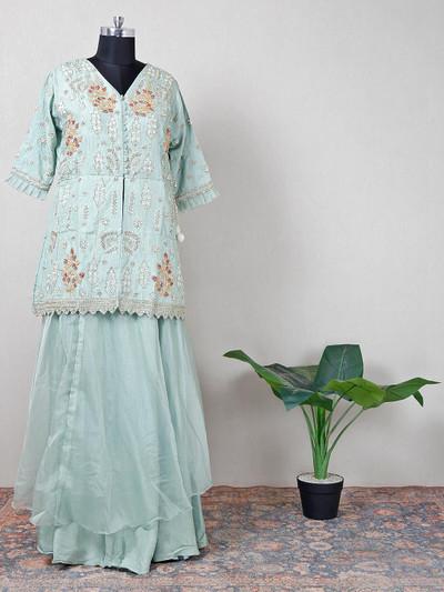 Light blue cotton silk womens suit
