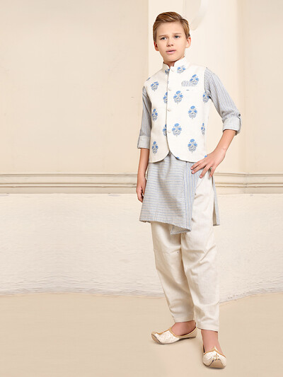 Light blue cotton stand collar waistcoat set