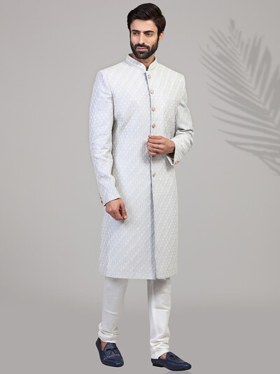 Light blue silk chikan embroidered sherwani