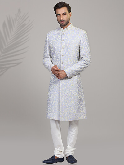 Light blue wedding wear thread work sherwani