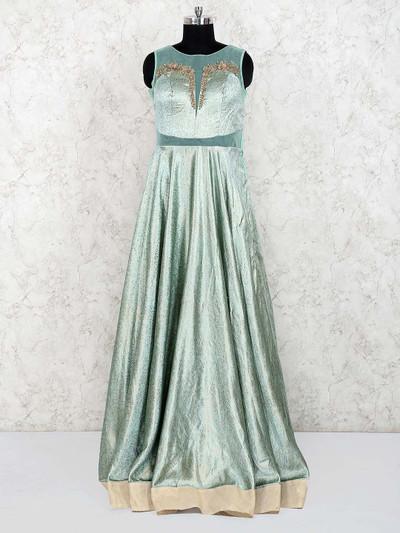 Light green color silk designer gown