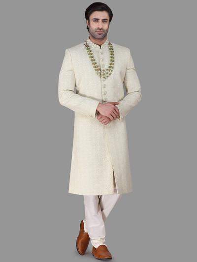 Light green silk wedding sherwani with chikan style