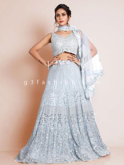 Light grey lehenga choli for wedding