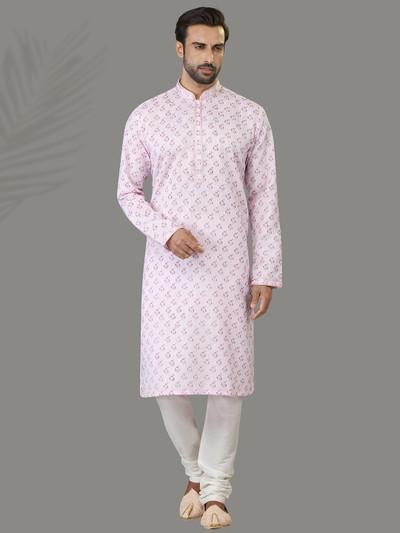 Light pink printed patern kurta suit in cotton silk