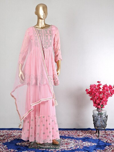 Lovely pink sharara suit in georgette