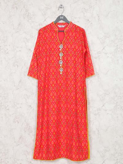 Lovely red hue cotton festive kurti