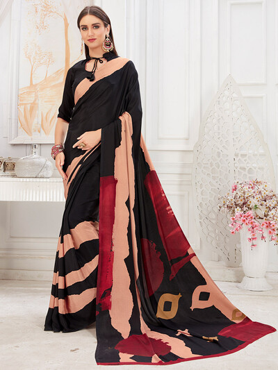 Luxuriant black color crepe festive saree