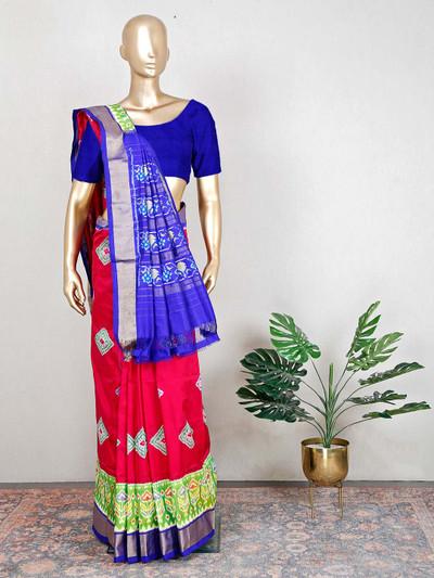 Magenta and blue patola silk saree for wedding