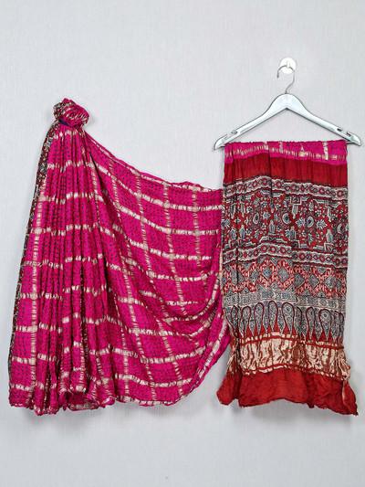 Magenta and red bandhej saree for festive