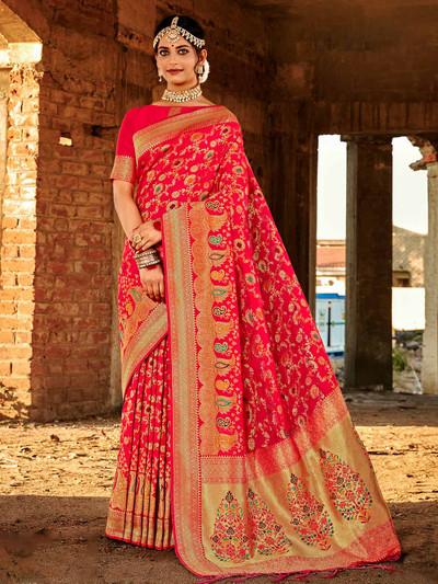 Magenta banarasi silk saree for festive session