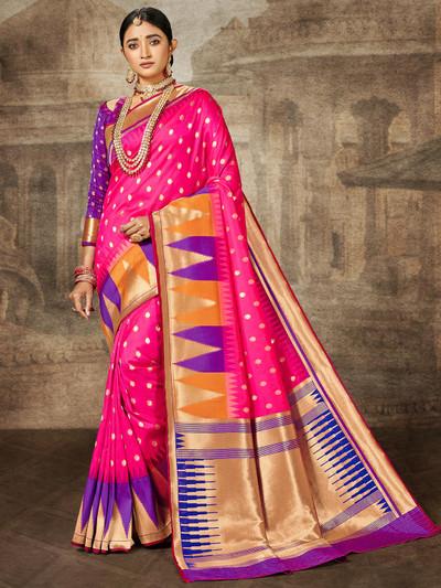 Magenta banarasi silk wedding session sari