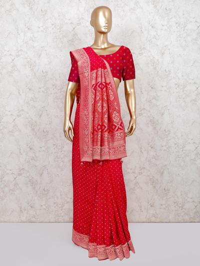 Magenta bandhej weddding wear saree for women
