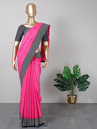 Magenta cotton festive wear saree for women