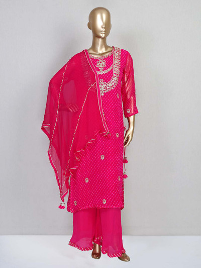 Magenta georgette palazzo suit for festives