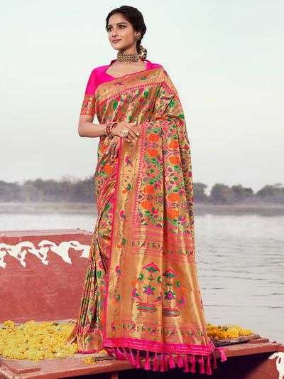 Magenta gorgeous banarasi silk wedding session saree