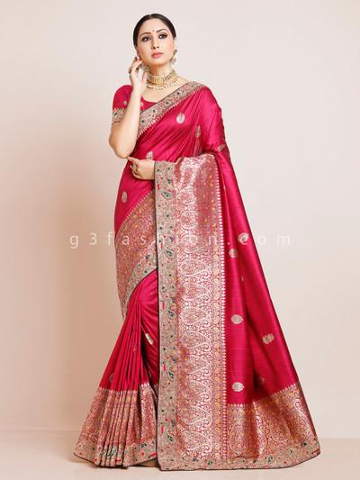 Magenta handloom cotton wedding saree