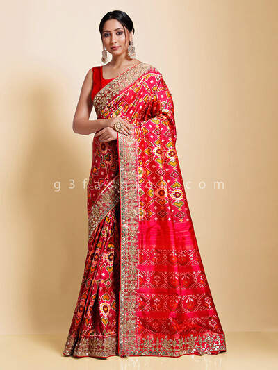 Magenta hydrabadi patola silk wedding function saree