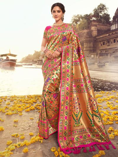 Magenta innovative banarasi silk wedding saree