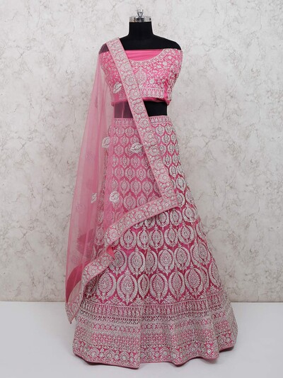 Magenta net designer semi stitched bridal wear lehenga choli