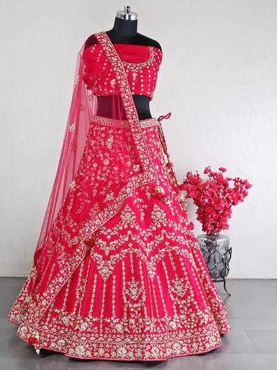 Magenta raw silk designer bridal lehenga choli