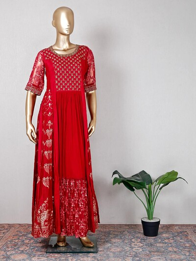 Magenta raw silk palazzo suit for wedding