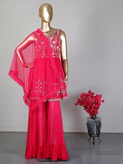 Magenta wedding wear sharara salwar suit
