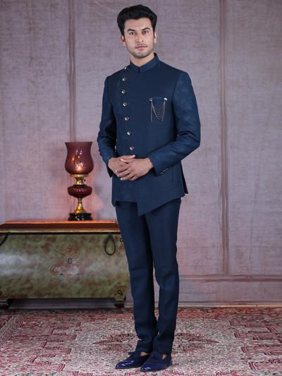 Magestic blue designer terry rayon jodhpuri suit