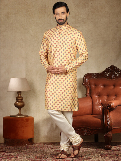 Magestic yellow cotton kurta suit for mens