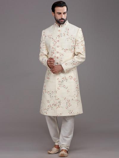 Magnificent cream raw silk sherwani