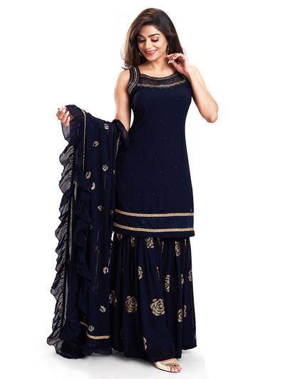 Magnificent midnight blue punjabi style salwar kameez for festive occasions