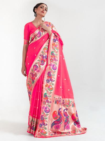 Magnificent pink banarasi silk saree for wedding session