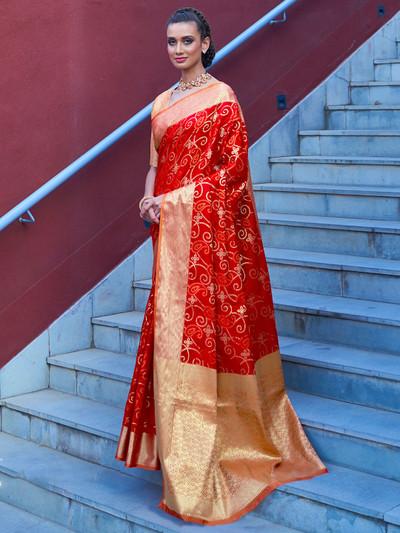 Magnificent red banarasi bandhej silk saree for wedding functions