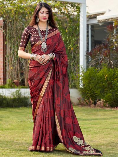 Maroon banarasi silk festive wear saree for women