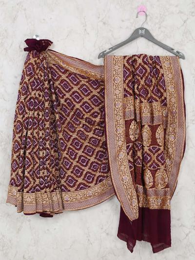 Maroon bandhej wedding wear saree for wedding