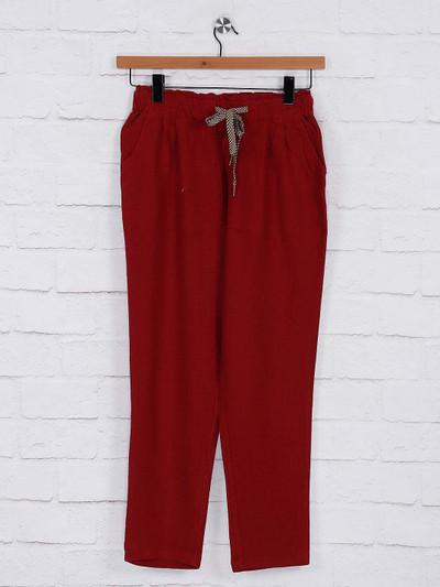 Maroon color womens pyjama in cotton